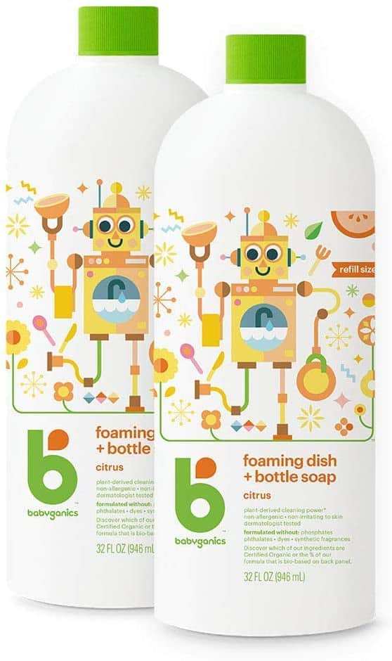 2-Count 32-Oz Babyganics Foaming Dish and Bottle Soap (Citrus) $9.15 w/ S&S + Free Shipping w/ Prime or on $25+