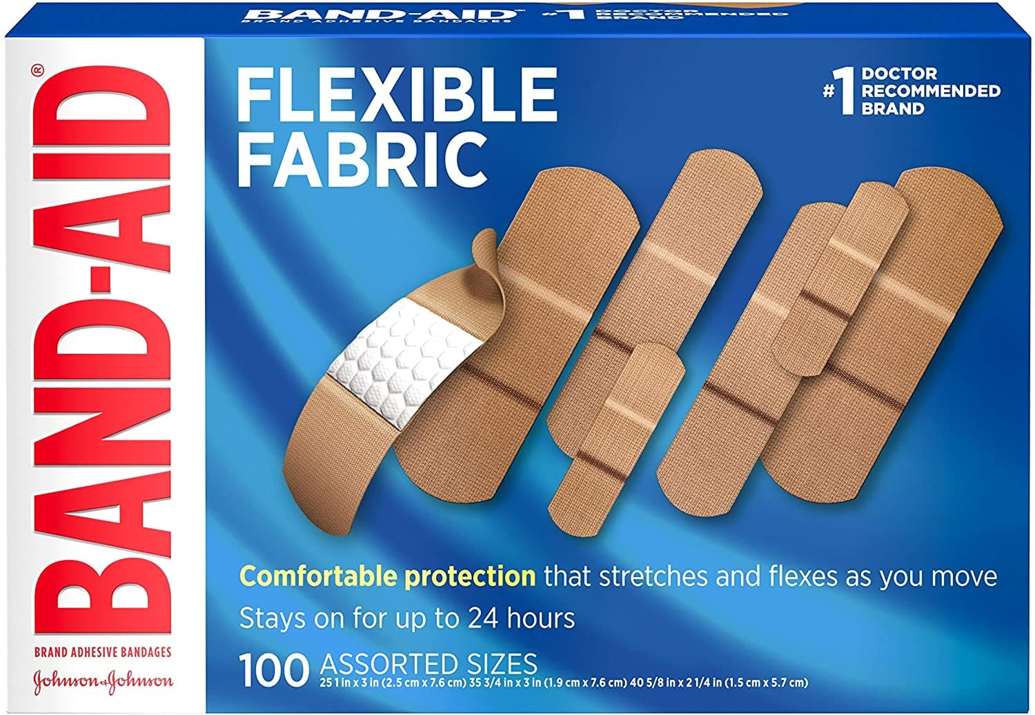 100-Count Band-Aid Flexible Fabric Adhesive Bandages (Assorted Sizes) $5.50 w/ S&S + Free Shipping w/ Prime or on $25+