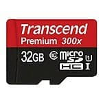 Transcend 32GB MicroSDHC Class10 UHS-1 Memory Card with Adapter 45 MB/s - $12 FS
