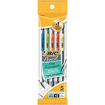 Amazon Prime - BIC Pencil Xtra Precision (Clear Barrels), Fine Point (0.5 mm), 5-Count $0.98