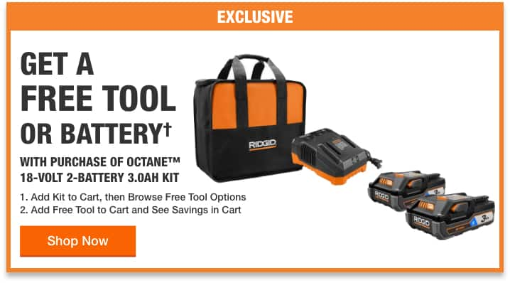 Select Free Bare Tools (or 2x 4.0 Ah Batteries) w/purchase of RIDGID 18-Volt OCTANE Bluetooth 3.0 Ah Batteries (2-Pack) and Charger Kit $199