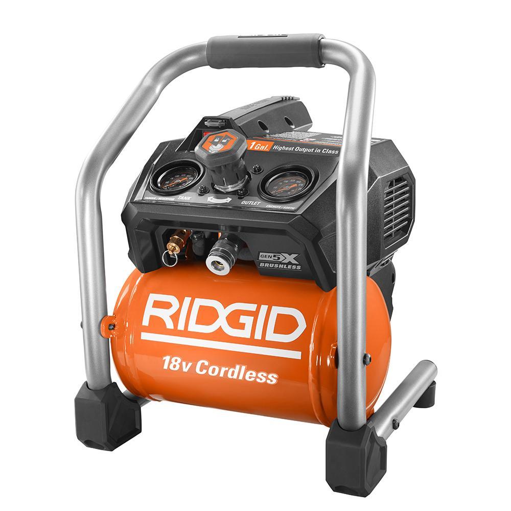 RIDGID 18 Volt Brushless 1 Gallon Portable Air Compressor (R0230) $99.99