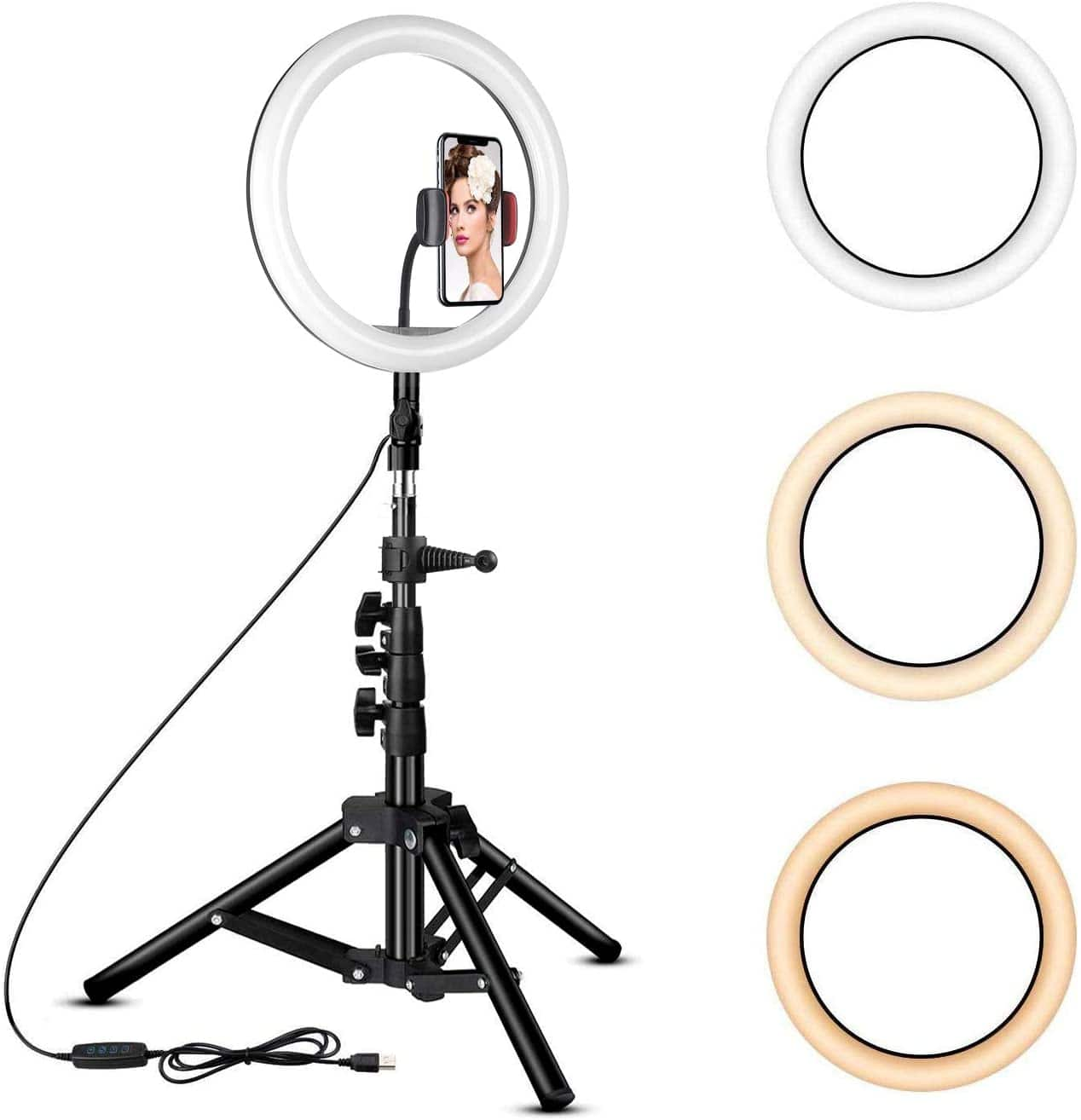 Amazon: Rovtop 10 inch Ring Light with Stand Tripod, LED Circle Lights with Phone Holder $16.99