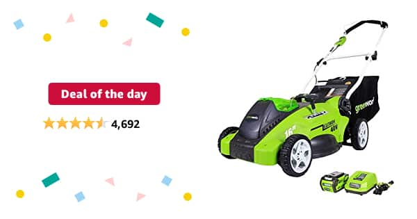 Deal of the day for Prime Members: Greenworks G-MAX 40V 16'' Cordless Lawn Mower with 4Ah Battery - 25322 model - $189.99