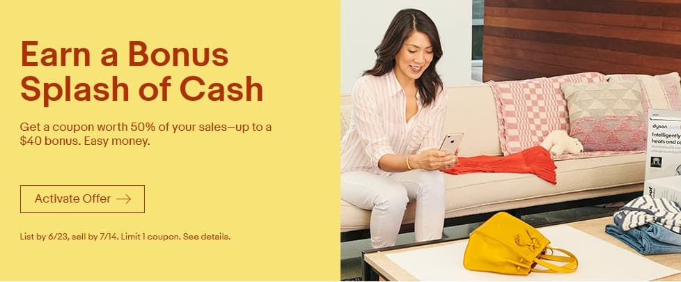 eBay Sellers, Get a coupon for 50% of sales, up to $40. YMMV Targeted