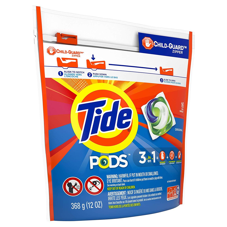 Tide PODS Original Scent HE Turbo Liquid Detergent Pacs, 16 count