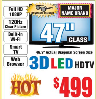 "Fry's B&M: 47"" 3D LED LCD HDTV 1080p for $499, 120hz, wi-fi, web browser"