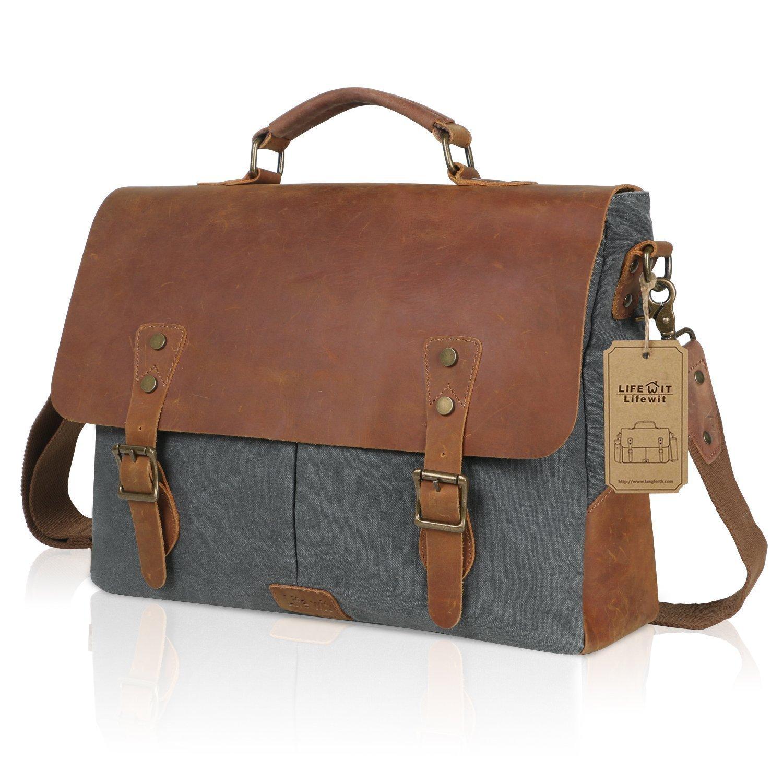 """Genuine Leather Vintage 15.6"""" Laptop Canvas Messenger Satchel Bag (Grey) $37.49"""