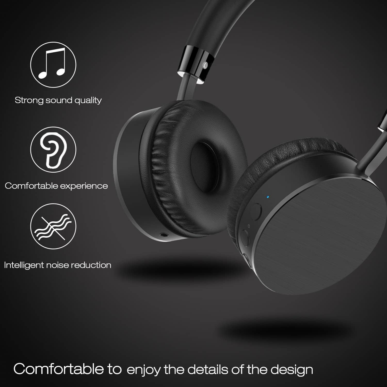 Bluetooth Headphones - Hi-Fi Stereo Wireless Headset w/ Built-in Mic ...