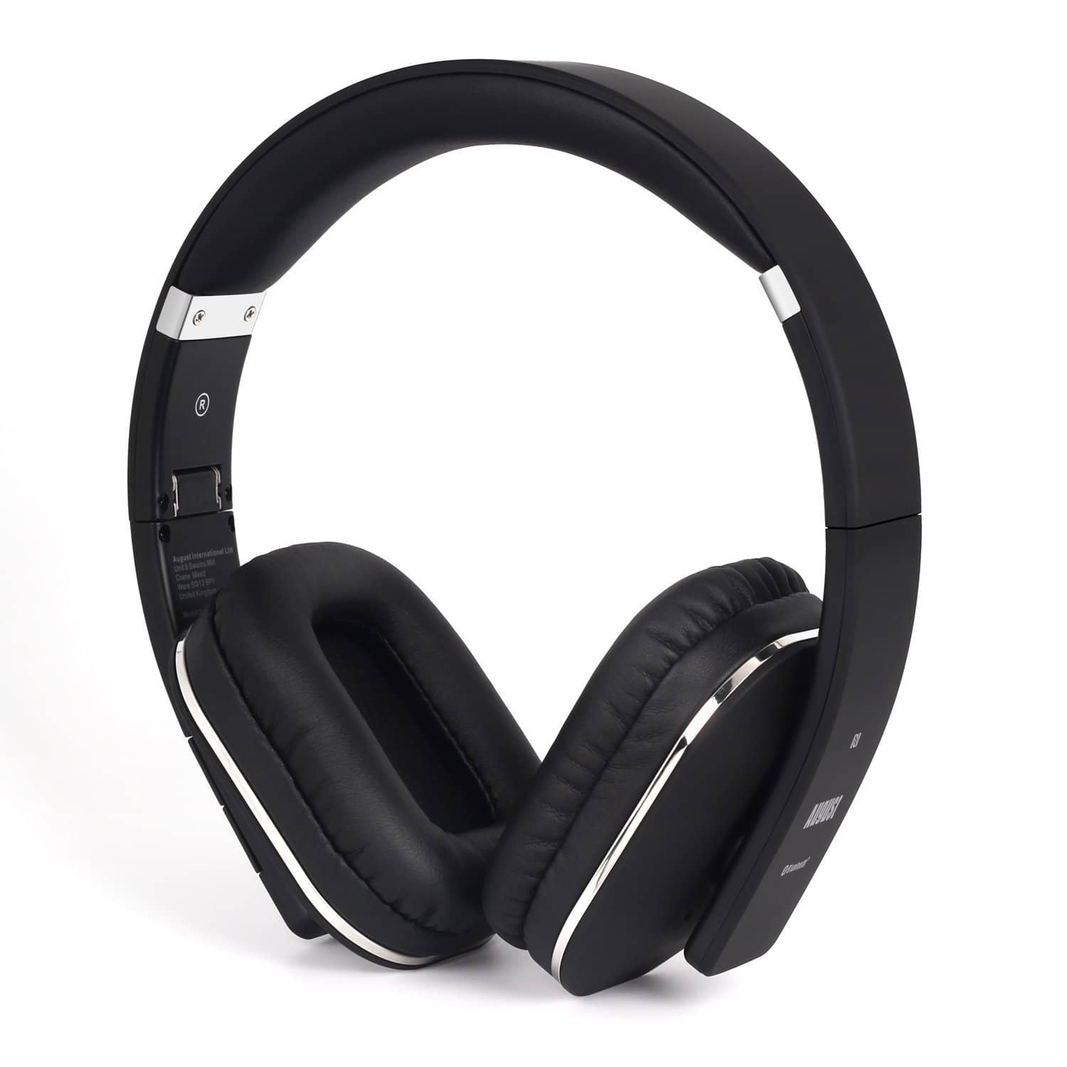 August EP650 Bluetooth Wireless Over Ear Headphones with Multipoint / NFC / 3.5mm Audio In / Headset Microphone - Black [Black] $26.97