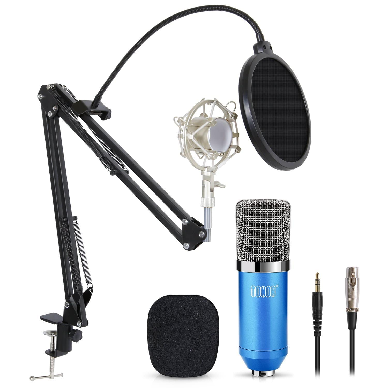Pro Condenser PC Microphone Kit with 3.5mm XLR Mic for Computer Studio Recording Broadcast with Pop Filter Scissor Arm Stand Shock Mount $24.95