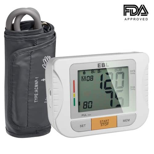 EBL Upper Arm Blood Pressure Monitors with Cuff that Fits Large Arms - Large LCD Display for 2 Users Home Check - Highly Accurate and Lightning Fast, FDA-Certified $18.99
