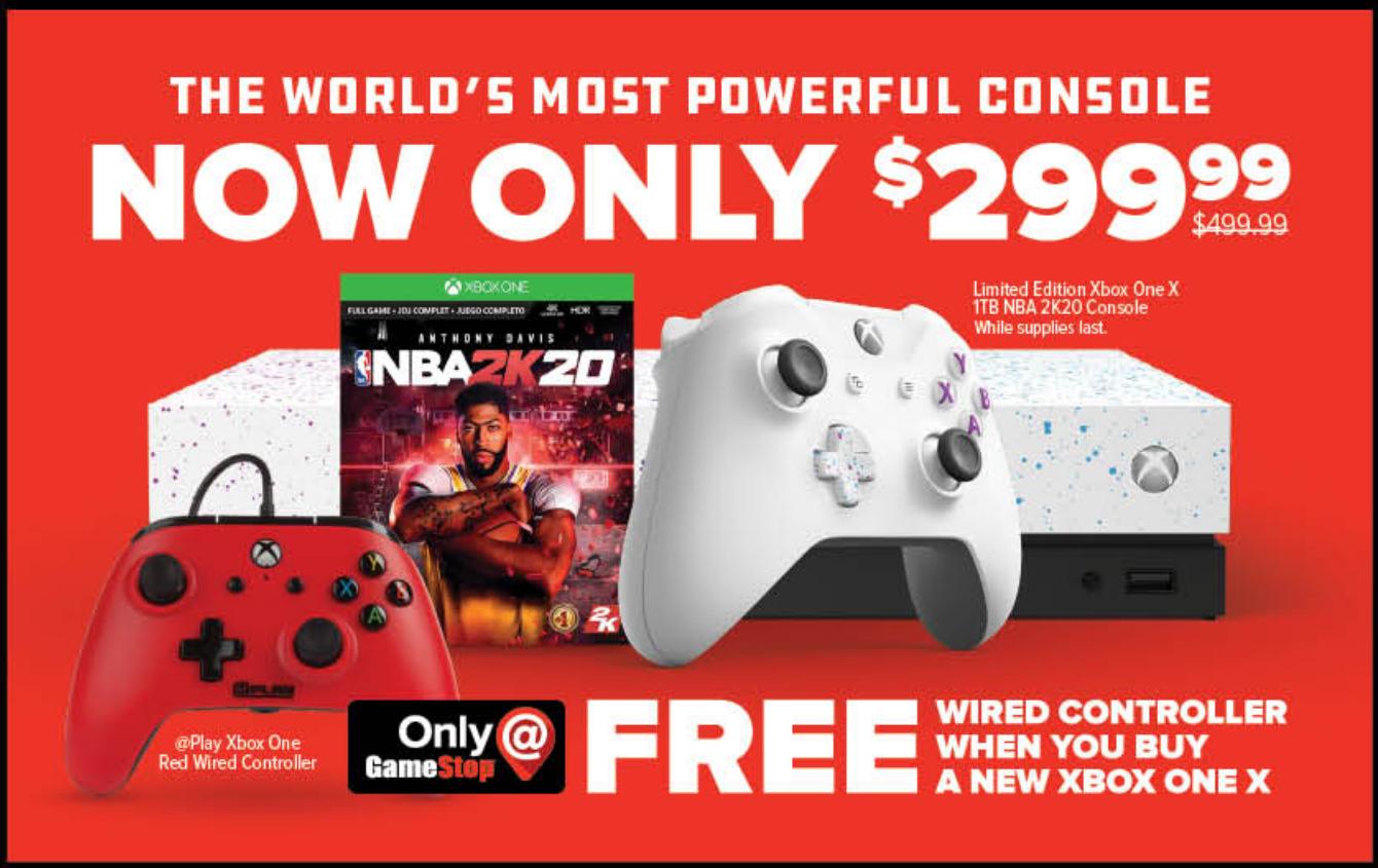 Xbox One X 2K20 Bundle w/ Extra Wired Controller $299.99