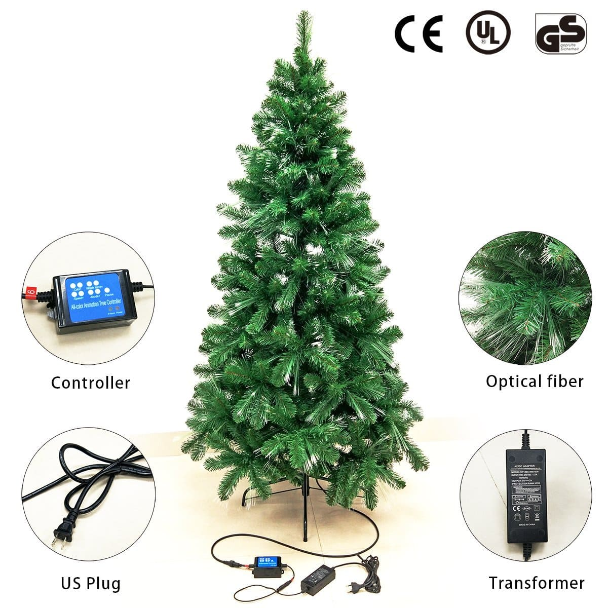signstek 6 ft pre lit fiber optic tipped artificial christmas tree amazon - Amazon Artificial Christmas Trees
