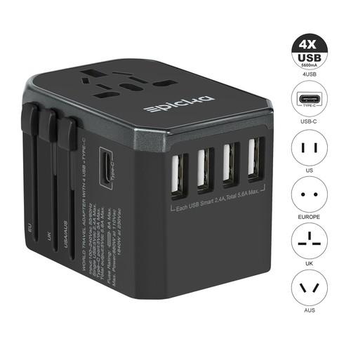 Universal Travel Power Adapter w/ 4 USB ports and 1 USB-C @Amazon - $14.29