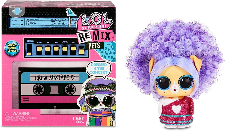 L.O.L. Surprise! Remix Pets 9 Surprises with Real Hair Includes Cassette Tape with Surprise Song Lyrics, Accessories, Dolls $8.99