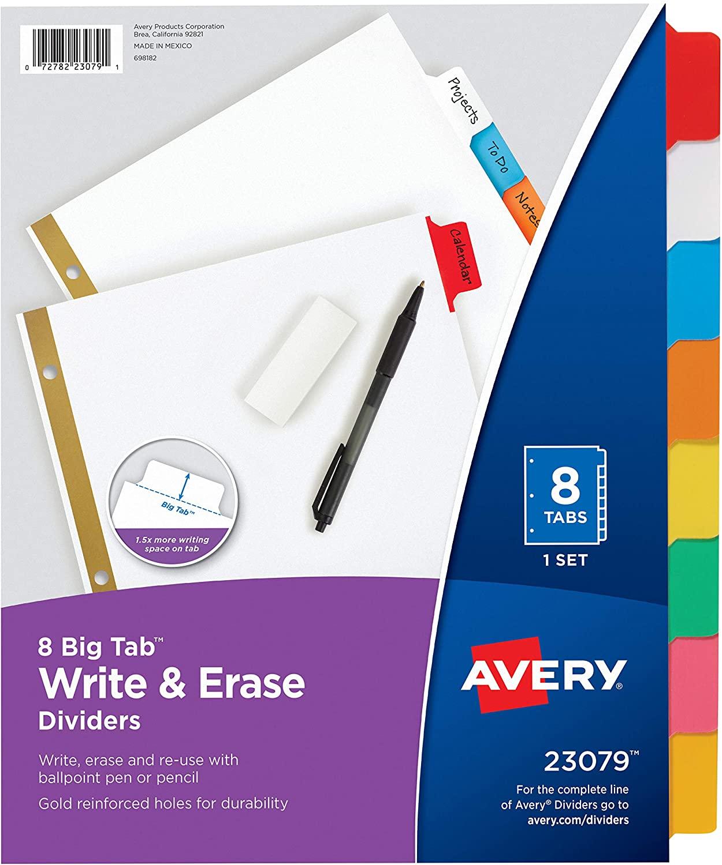Binder Dividers, (6 Sets, 8-Tab), Write & Erase Multicolor Big Tabs, School Binder Organizers (23079) - 73079 $5.88