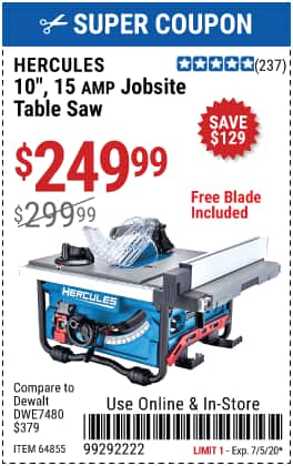$50 off Hercules table saw $249.99