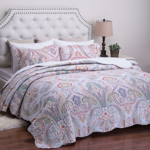 Printed Quilt Coverlet Set Twin (Twin Full/Queen King in 7 colors) - $16.19 to $23.99 AC FS with Prime