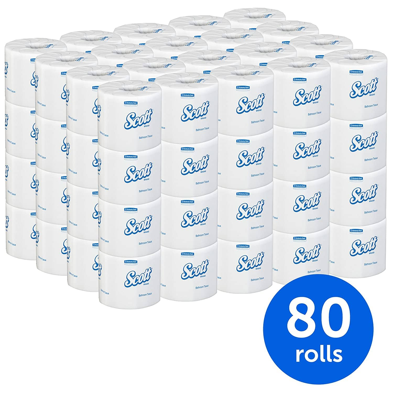Scott Brand Bulk Toilet Paper 80 Rolls/Case, 506 Sheets/Roll $37.98 @ Amazon