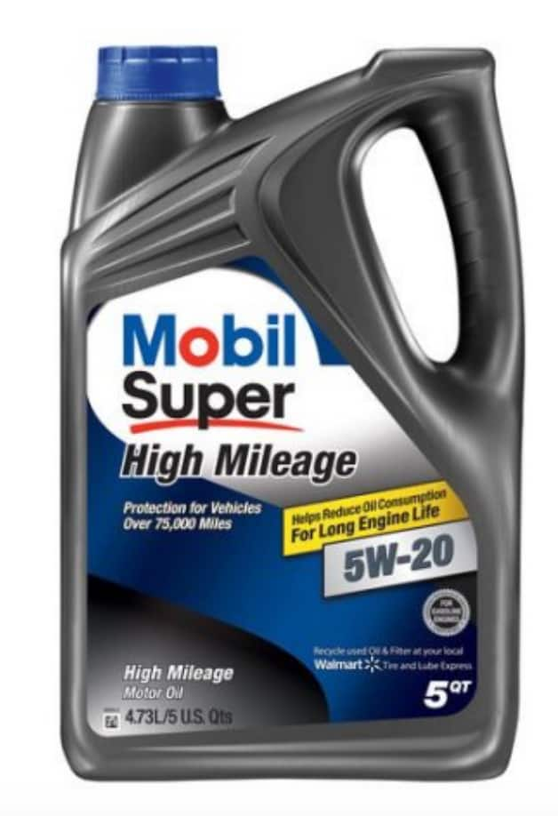 Mobil Super 5W-20 High Mileage Motor Oil, 5 Qt Bottle - $12.98 @ Walmart