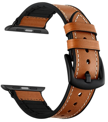 Apple Watch Band Sweatproof Classic Hybrid Sports with Vintage Leather 42mm $15.52