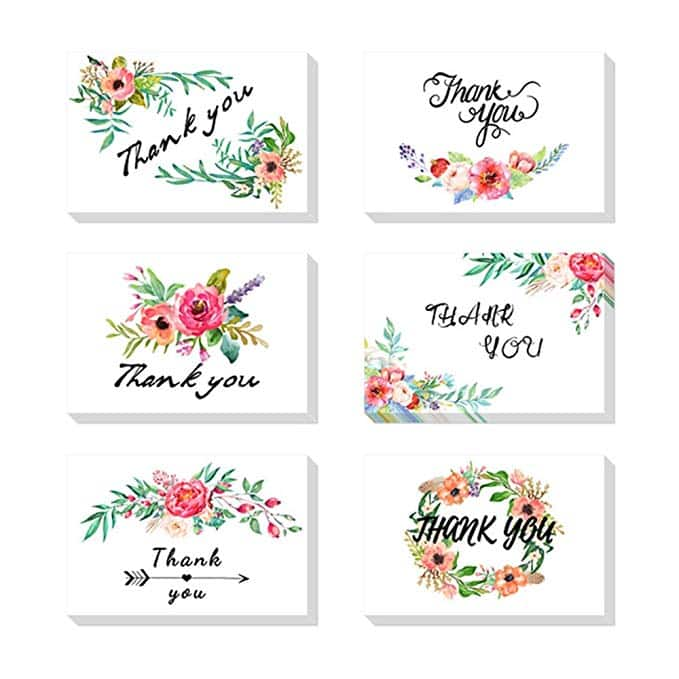 E-More Thank You Cards Floral Thank You Card Set Graduation Wedding Baby Shower Anniversary - 6 Design 48 Assorted Blank Inside with Envelopes (4x6inch) $10.19