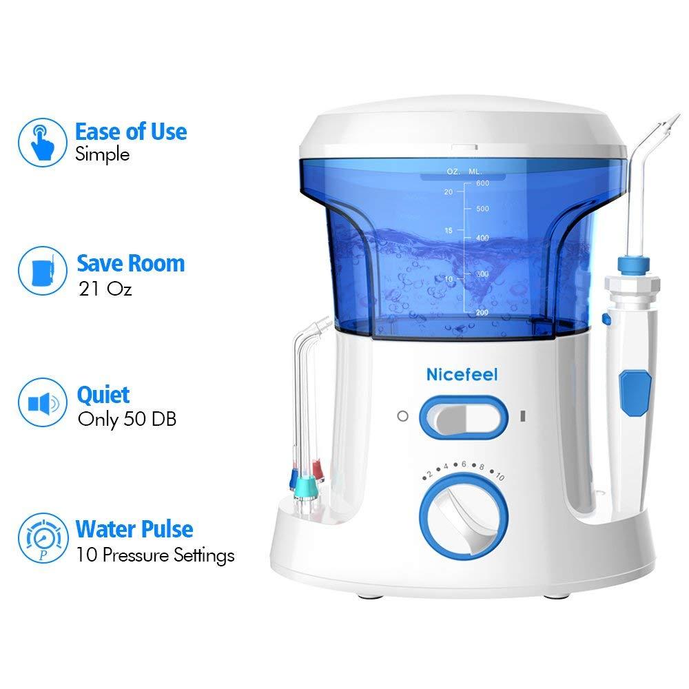Nicefeel Electric Dental Water Flosser 600ml Capacity Quite