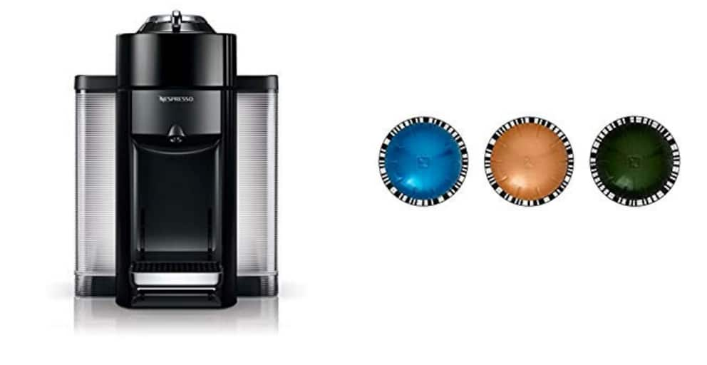 Prime Members: Nespresso Evoluo by De'Longhi, Black and Vertuoline Best Seller Pods, 30 ct $99.99