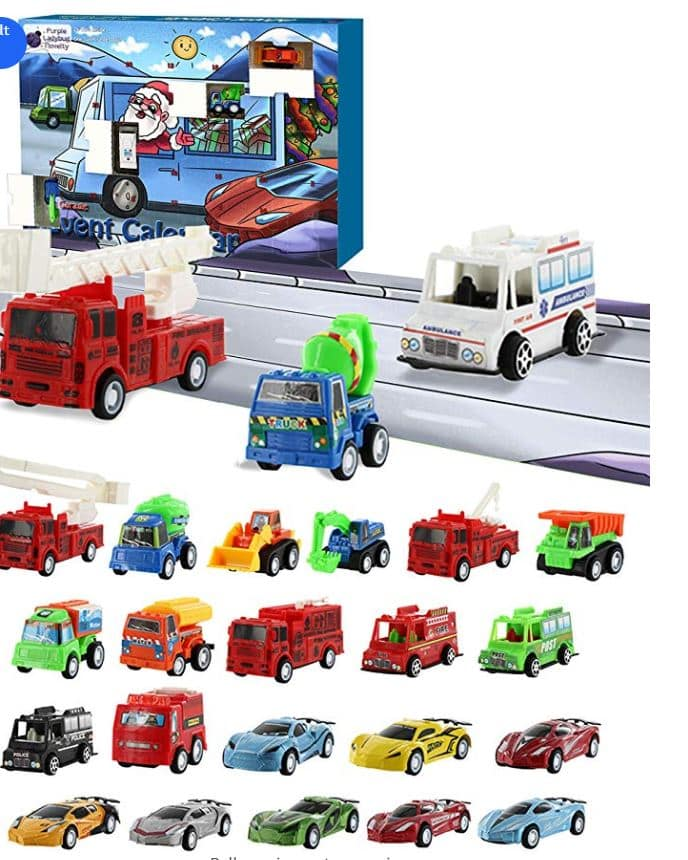 Pull Back Cars Advent Calendar on Amazon - Coupon Code for 30% off PLUS $6 Prime Discount $9.79