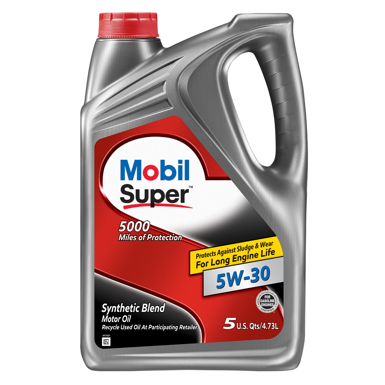Mobil Super Synthetic Blend Motor Oil 5W-30, 5 Quart - Walmart $15.66 ($10.66 after rebate)