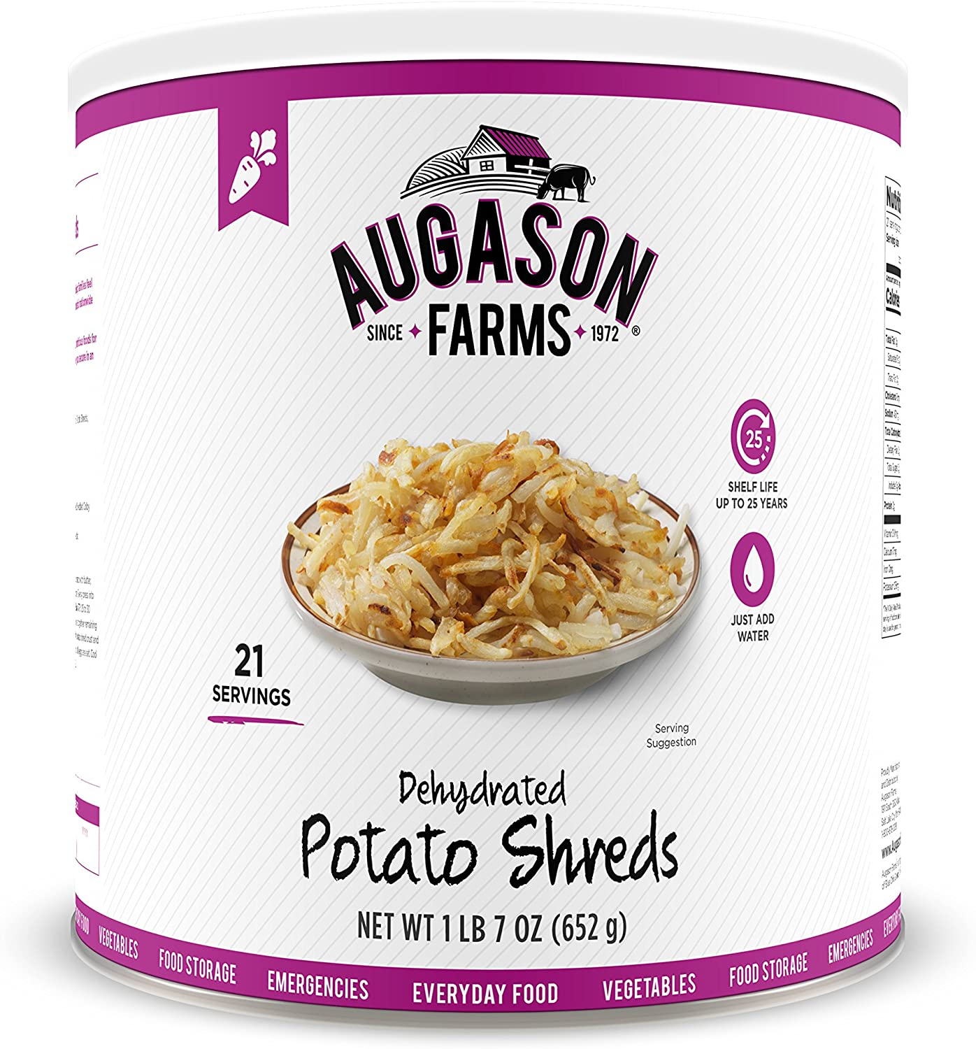 Augason Farms Dehydrated Potato Shreds 1 lb 7 oz No. 10 - Amazon - $8.14