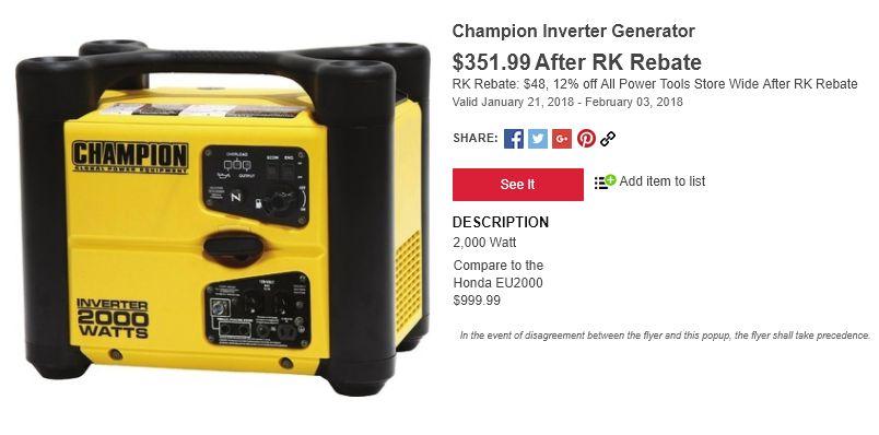 Champion 2000 watt inverter generator, parallel-capable, $352 after Rural King rebate
