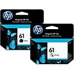 HP #61 Genuine Black & Color Printer Ink Cartridges - $22.99 for both