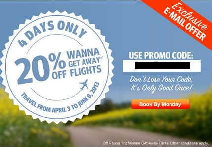 Southwest 20% off code for wanna get away fares