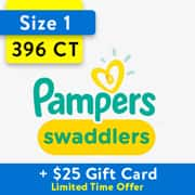 Pampers Swaddlers - $25 Gift Card with Purchase of Two One Month Supply $92.7 - Available at Walmart