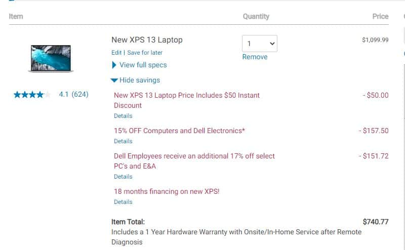 DELL XPS13 9300 Laptop - i5-1035G1 8GB 256GB ---> $620 + Tax - YMMV