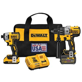 Dewalt Hammer Drill and Impact Driver Combo Kit with 2 Batteries and 2 free tools $208.97