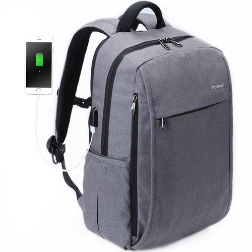 Slim Laptop Backpack, 15.6 inch with USB Charger [Grey] $20.79