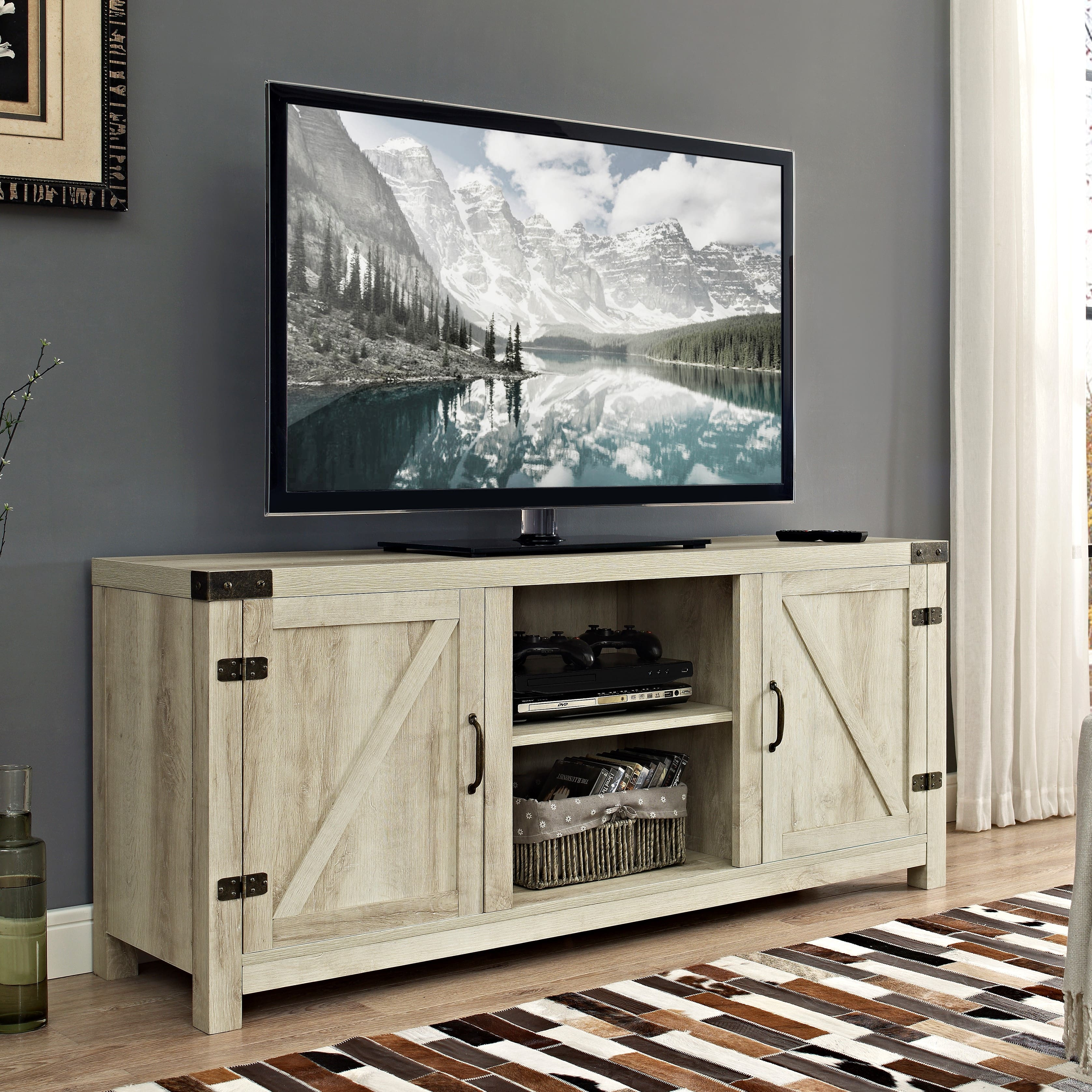 """Manor Park Modern Farmhouse Barn Door TV Stand for TV's up to 64"""" - White Oak $125"""