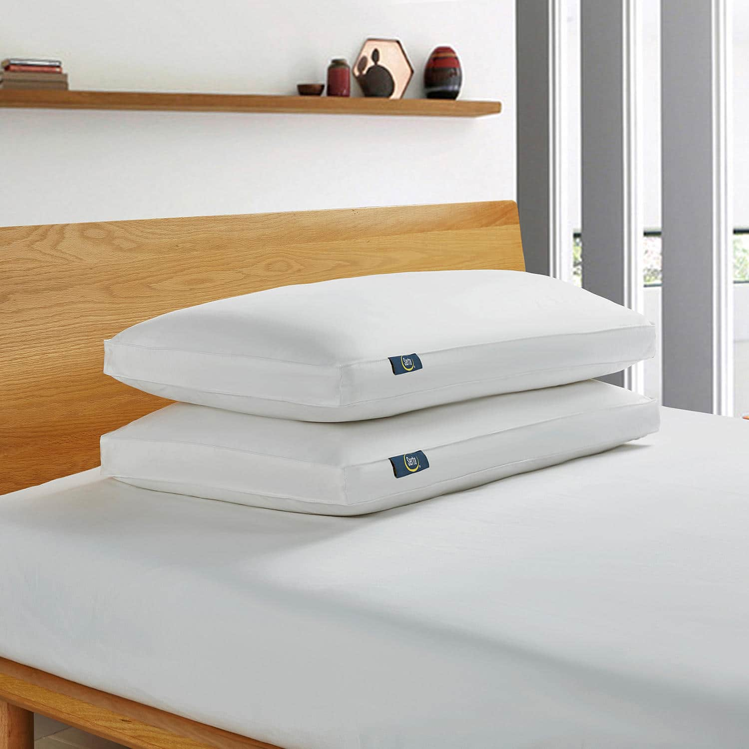 Serta White Goose Feather And Down Fiber Side Sleeper Pillow (2 Pack) JUMBO $24.98
