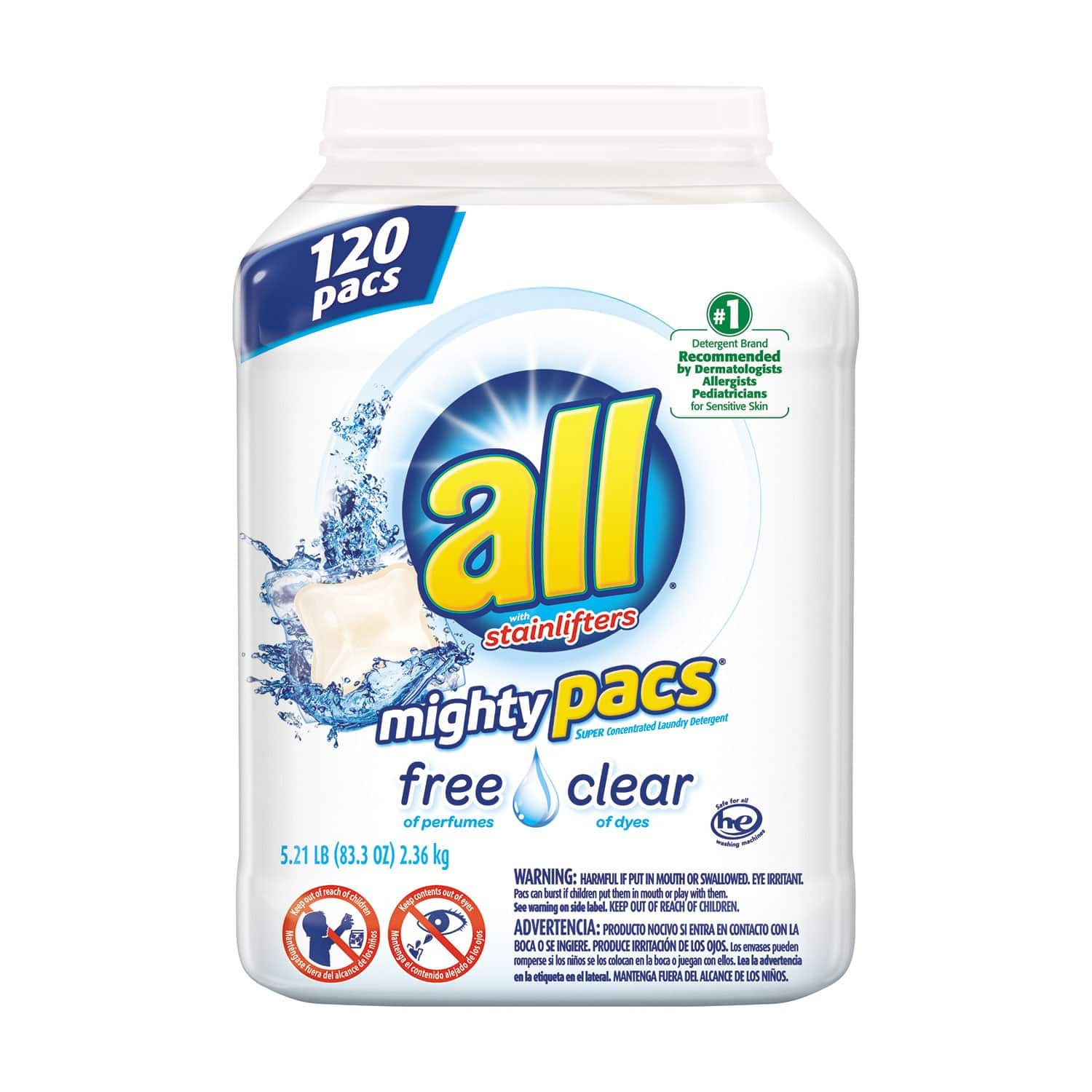ALL Mighty Pacs Free & Clear Laundry Detergent (120 loads) $13.97