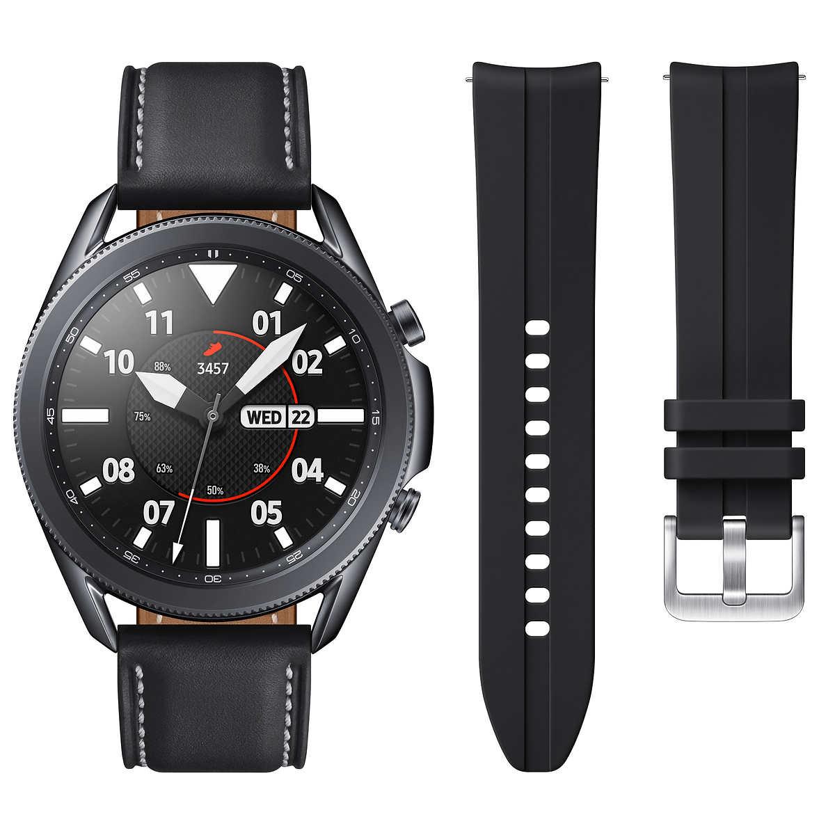 Samsung Galaxy Watch3 45mm Smartwatch - Mystic Black - Bonus Band Included $389.98