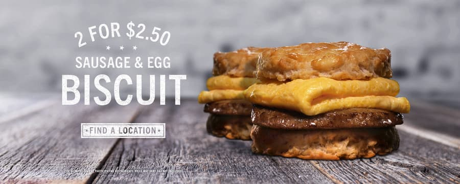 2 for $2.50 - Sausage, Egg & Cheese Biscuits @ Carl's Jr. & Hardee's