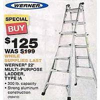 Home Depot Deal: Werner  22 ft. Aluminum Telescoping Multi-position Ladder with 300 lb. Load Capacity  $125 @ Home Depot ( Reg. Price $199 ) BM & Online