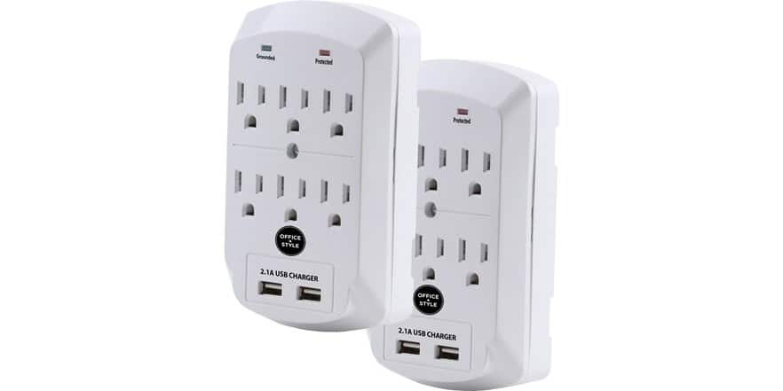 Office+Style (B2-6S900J2USB) Surge Protector, 6 Outlet 2 USB Port Wall Adapter (2 Pack) $12.99 Shipped With Prime @ WOOT