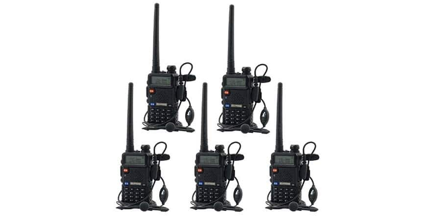 Ham Radio - BaoFeng UV-5R UHF VHF Dual-Band Two-Way Radio with Earpiece + 1 Programming Cable - ( 5 Pack ) $99.99 Shipped Free With Prime @ WOOT / Fulfilled by Amazon