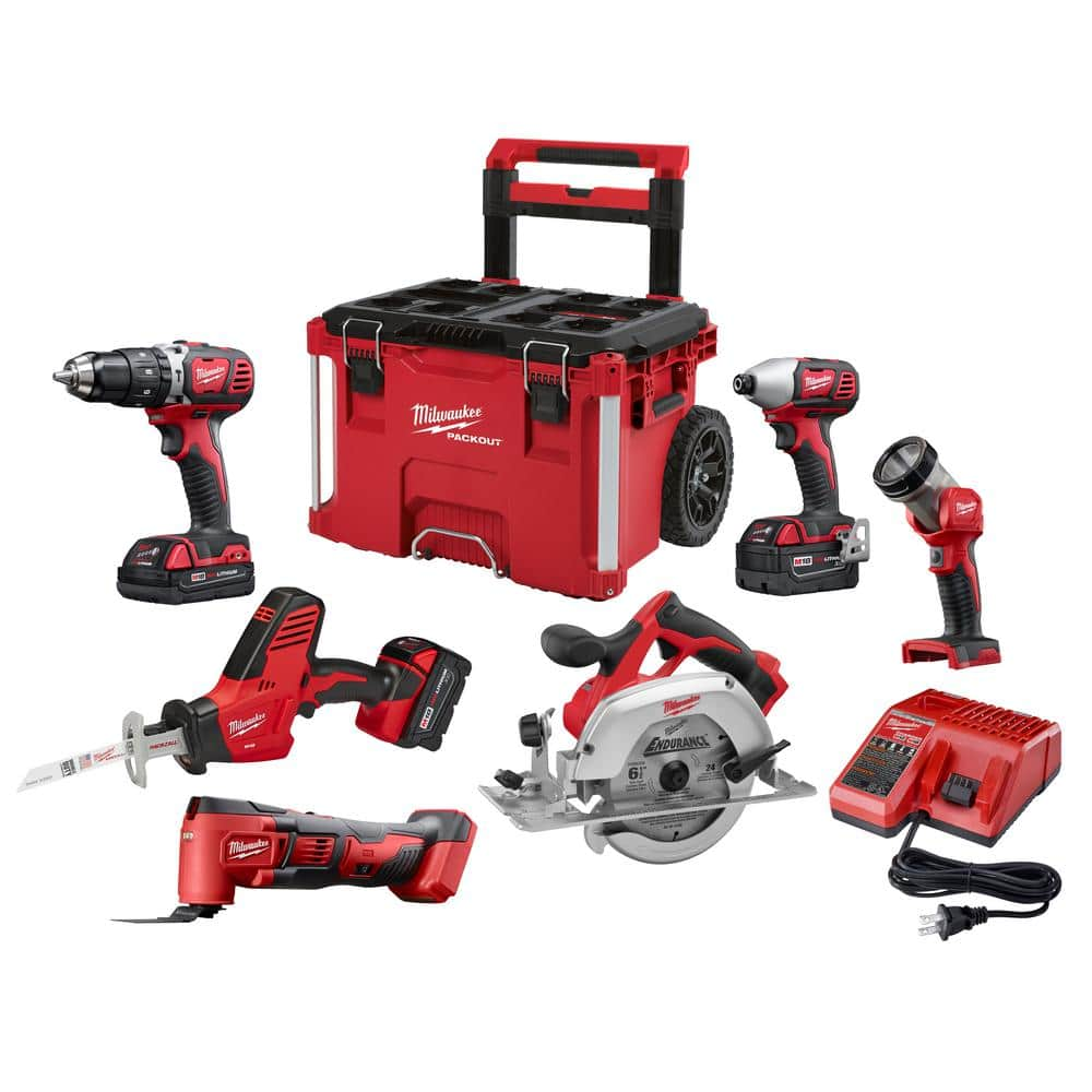 Milwaukee M18 18-Volt Lithium-Ion Cordless Combo Kit (6-Tool) W/ 3-Batteries, Charger and PACKOUT Rolling Tool Box $499 Shipped @Home Depot