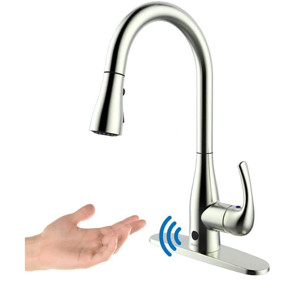 Flow Motion Activated Kitchen Faucet w/ Pull-Down Sprayer ...