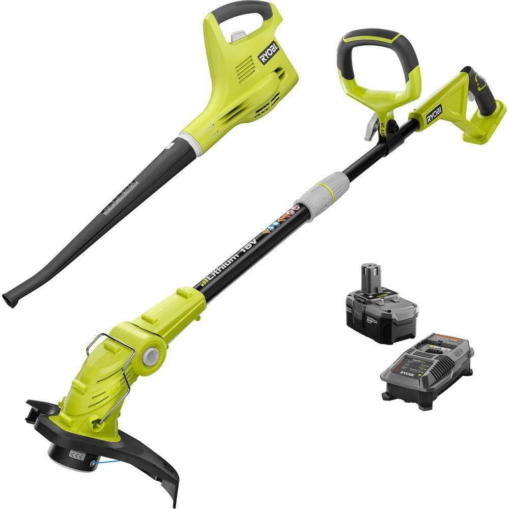 RYOBI ONE+ 18-Volt Lithium-Ion String Trimmer/Edger and Blower/Sweeper Combo Kit - 2.6Ah Battery and Charger Included $89 @ Home Depot